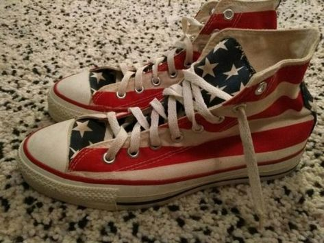Vintage Converse All Star Shoes Sz 8 Stars Stripes made in