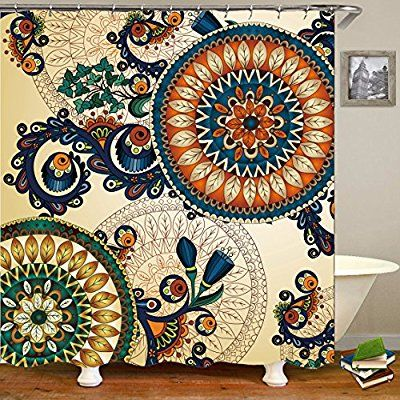 Amazon Com Qees Boho Psychedelic Shower Curtains Hippie Mandala