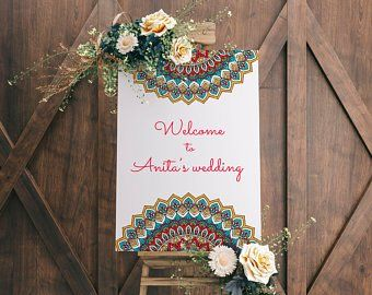 Indian Wedding Welcome Board Indian Wedding Printables Indian