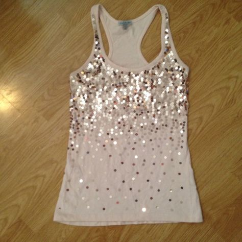 5d9bd2241ed90 FLASH SALELight Pink Sequin Tank Racer back sequin tank. No missing sequins  and fun and flashy on light pink fabric. General signs of wear but good ...