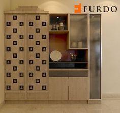 Atherische Holz Puja Ecke Mandir Mit Geschirr Einheit Von Furdo Pooja Room Door Design Crockery Unit Design Crockery Unit