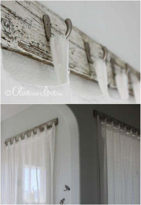 16 DIY Curtain Rods And Hooks That Give You Gorgeous Style On A Budget : Reclaimed Wood Curtain Rod ~ I personally like this one :D Farmhouse Curtains, Farmhouse Windows, Rustic Farmhouse Decor, Farmhouse Curtain Rods, Country Curtains, Modern Farmhouse, Farmhouse Style, Curtains Living, Diy Curtains