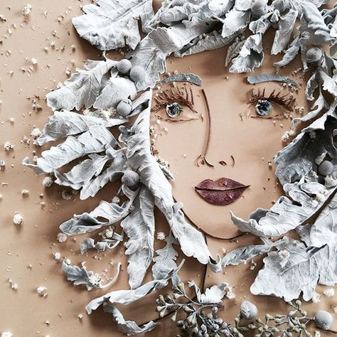 portraits with organic materials