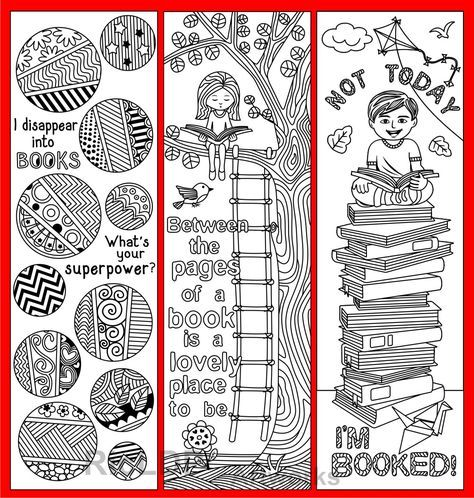 Set Of 8 Coloring Bookmarks With Quotes About Books And Etsy Coloring Bookmarks Bookmarks Printable Free Printable Bookmarks