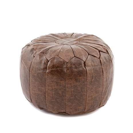 Moroccan Stitched Pouffe Shabby Chic Salon Round Footstool