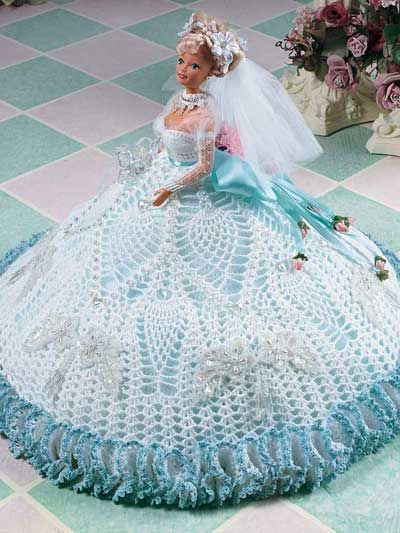 Barbie Crochet: White Pineapple Fashion Doll Gown.  $2.49 on e-PatternsCentral