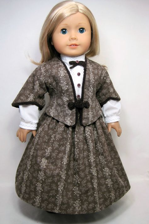 Mid- 1800 century Jacket, Skirt, Blouse that fit 18 inch doll like American girl doll ,Marie Grace, Cecile). $45.99, via Etsy.