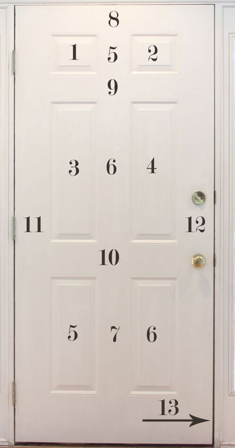 How to paint an exterior door w/o streaks. Bonus tip: leave the door on its hinges and remove as much hardware as possible. Any exposed hardware that is left can be covered with two coats of rubber cement to protect it from the paint. The rubber cement can then be peeled off when the door is dry.