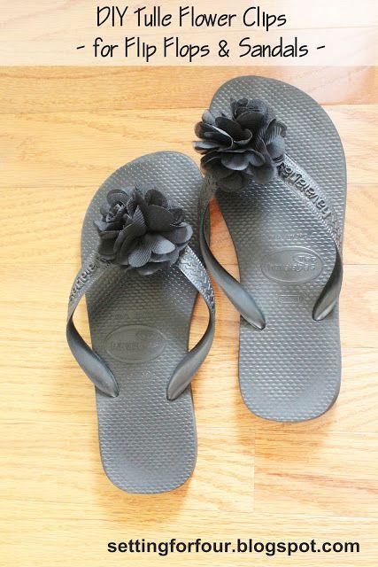 DIY Tulle Flower Clips  for Flip Flops  Sandals from Setting for Four #diy #easy #clip #shoe