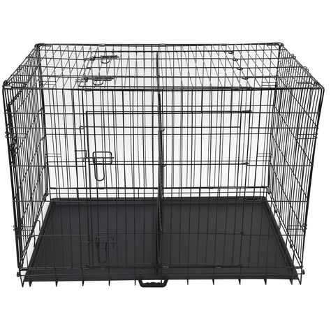Folding 48 Inch Three Door Metal Dog Crate With Divider You Can