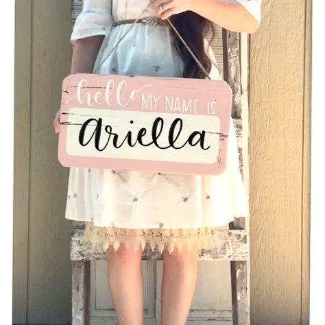Girls room ideas, Hello my name is birth stat sign hospital door hanger girl   Etsy