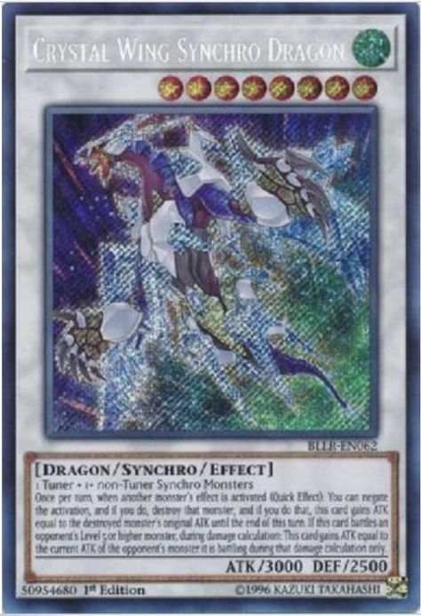 YUGIOH Crystal Wing Synchro Dragon BLLR-EN062 Secret Rare