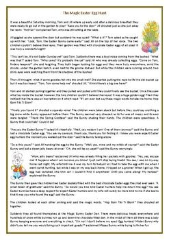 The Magic Easter Egg Hunt Reading Comprehension Worksheet