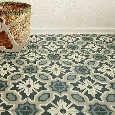 Victorian Tile Effect Cushion Sheet Vinyl Flooring Kitchen Bathroom Lino Ebay In 2020 Vinyl Flooring Floral Tiles Vinyl Flooring Bathroom