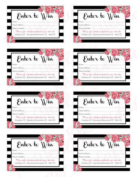 Raffle Card Printable Prize Entry Ticket Win Form Black