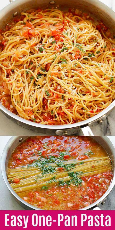 One-Pan Pasta - BEST pasta from scratch in a pan. Throw all ingredients .- One-Pan Pasta – BESTE Pasta von Grund auf in einer Pfanne. Wirf alle Zutaten …… One-Pan Pasta – BEST pasta from scratch in a … - Easy Pasta Recipes, Easy Dinner Recipes, Chicken Recipes, Easy Meals, Weeknight Meals, Fresh Tomato Recipes, Fresh Tomato Pasta Sauce, Mexican Pasta Recipes, Meatless Pasta Recipes
