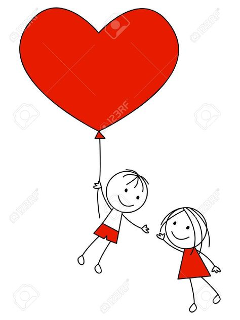Cute Couple With Heart Balloon Royalty Free Cliparts, Vectors, And ...