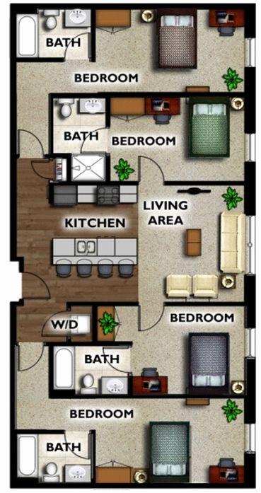 Three Bedroom Apartment Floor Plans Luxury Detroit Mi The Union At Midtown Floor Plans In 2020 5 Bedroom House Plans Bedroom House Plans 4 Bedroom House Plans