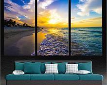 Beach During Golden Sunset 3 Panel Split Triptych Canvas Print