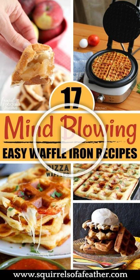 I had NO IDEA you could make such awesome food in my waffle iron! Such great ideas for breakfast, snacks, and even dessert. #waffles #waffleiron #breakfastideas #snackideas #desserts #squirrelsofafeather