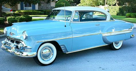 Startlingly New! Wonderfully Different! is how Chevy described the new models for & This is a 53 Bel Air Sports Coupe in India Ivory over Horizon Blue Chevrolet Bel Air, Chevrolet Trucks, Chevrolet Impala, My Dream Car, Dream Cars, Best Classic Cars, Unique Cars, Custom Cars, Vintage Cars