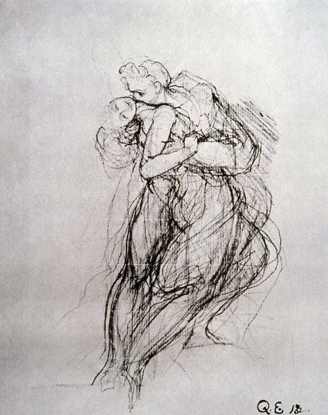 Image Description:  Period: 18th - 19th Century  Artist Name: Fuseli, Henry  Artist Date: (1741-1825)  Image Number: EF30600D  Image Details: Man Embracing a Woman black chalk, 20.6 x 14.7cm, Kupferstich- kabinet, Basel