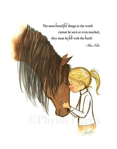 Horse and Little Girl Embrace -Girl's room art #Horseart