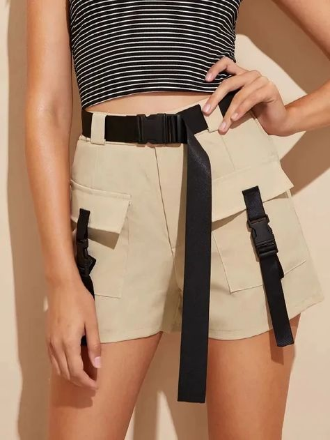 Dual Pocket Tape Panel Belted Shorts – GaGodeal