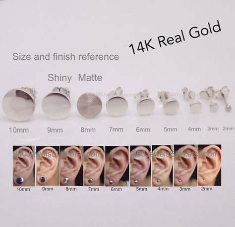 Custom made flat disc stud earrings in 2mm, 3mm, 4mm, 5mm, 6mm, 7mm, 8mm, 9mm, or 10mm. Select your size. Earrings are sold as a single or pair.