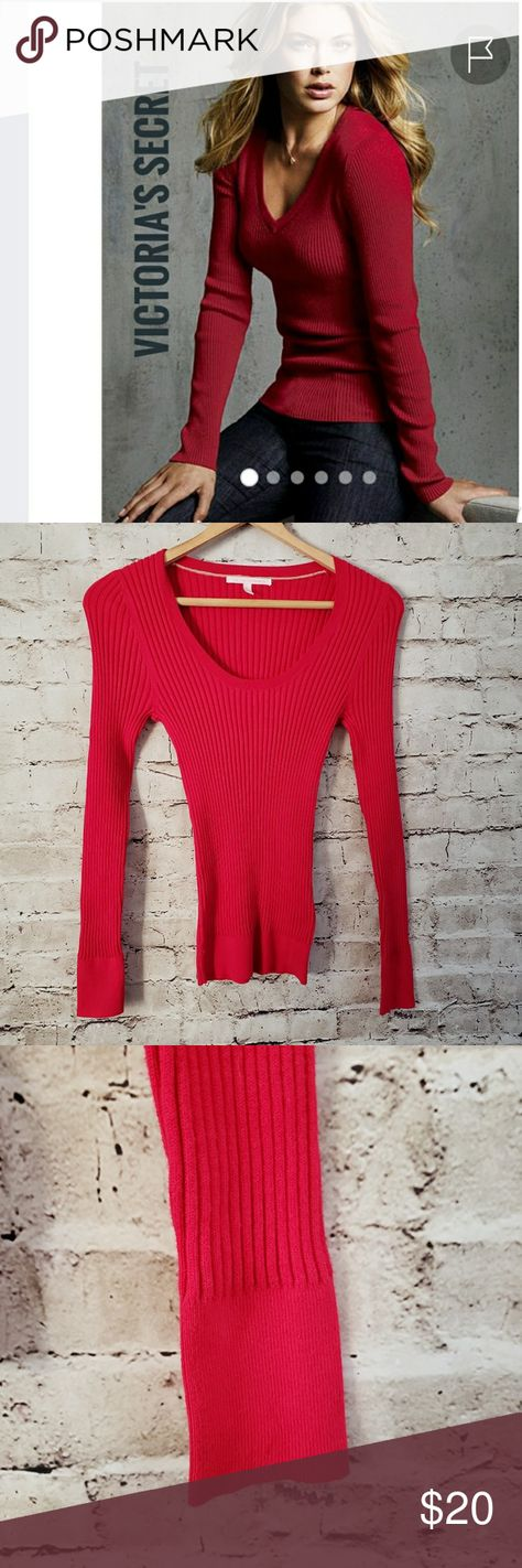 8e79c8f27d0bff VICTORIA SECRET RED RIBBED SWEATER SIZE M VICTORIA SECRET RED RIBBED  SWEATER SCOOP NECK SIZE M GOOD USED CONDITION Victoria's Secret Sweaters  Crew & Scoop ...