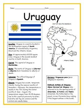 This Printable Handout Includes A Fact Sheet About Uruguay Info