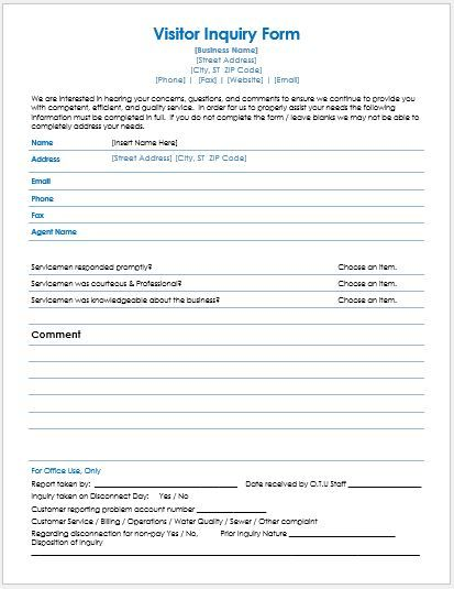 Visitors Inquiry Form inq 1 Pinterest Template - inquiry template