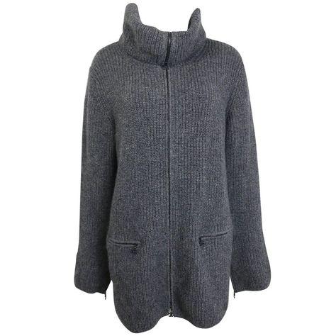 Câble d/'hiver tricoté femmes pull long gris MELANGE Pocket Front NEUF