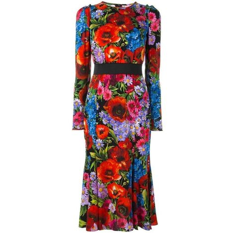 Dolce & Gabbana Floral Print Silk Dress Sz It46 Us 8-10