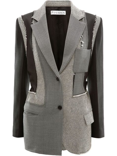 JW Anderson patchwork tailored jacket - Grey