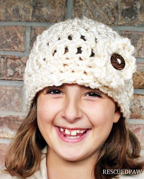 Free Crochet Chunky Flower Button Hat Pattern #fall #winter