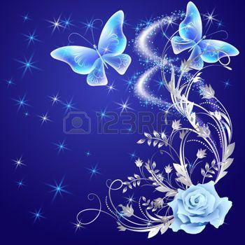 feu d artifice FLEUR Papillons qui volent transparentes avec ornement  argenté, rose et brillant feu d\u0027artifice