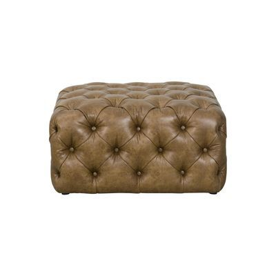 Draper Large Square Light Brown Faux Leather All Over Tufted