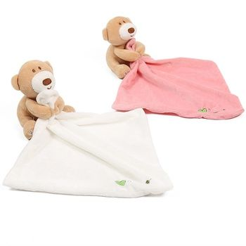 YUIO Infant Bear Doll Appease Towel Doll Baby With Ring Teethers Baby Lovely Toys Newborn Baby Sleep Towel White