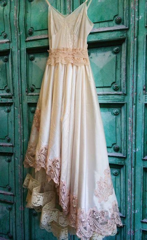 ivory & blush lace satin appliqued asymmetrical boho wedding dress by mermaid miss k
