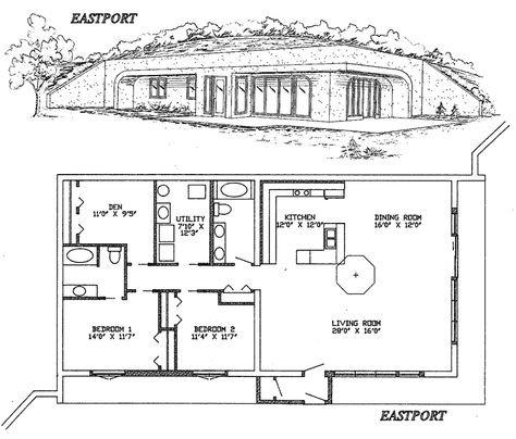 16 best berm home plans images on pinterest floor plans arquitetura and house layouts - Small Earth Berm Home Plans