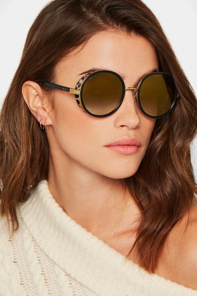 b9d8c3532162 Jimmy Choo - Andie Round-frame Gold-tone, Acetate And Calf Hair Sunglasses  - Black