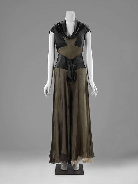 Lijf van huispyjama, bovendeel van zwart satijn en maagband van taupe- en zalmkleurige mousseline, Denise Vandervelde-Borgeaud, ca. 1930 - ca. 1939