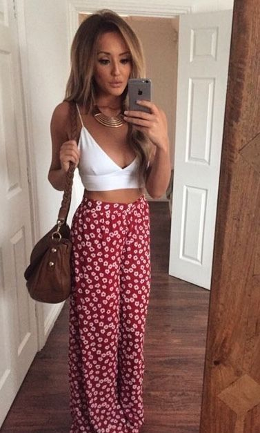 Gorgeous Printed Trousers And That Boho Necklace Completes The Look Perfectly Top Halter