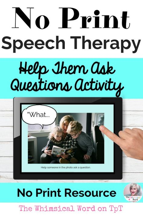 Asking Questions Activity Speech Therapy