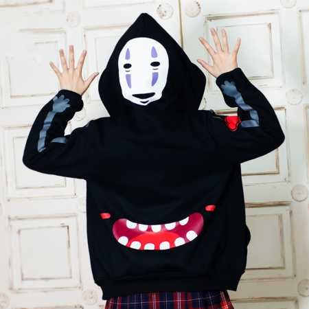 Anime Spirited Away No-Face Hoodies Jean Jacket Coat Cosplay Hooded Outerwear