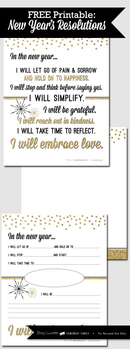 Free New Years Resolution Printable by BitsyCreations for Somewhat Simple