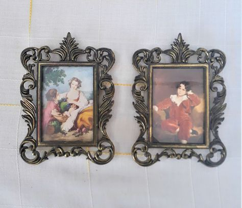Pair of Pictures Victorian Prints Decorated Pewter Frames Golden Pewter Wall Hanging Decorations Home Decor Vintage Frames Made in Italy