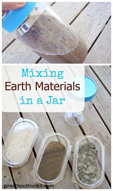 Preschool science activity mix nature materials in a jar