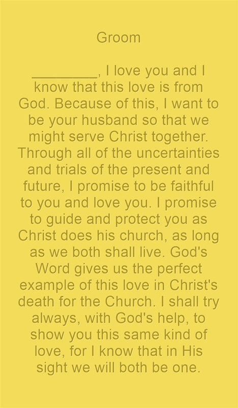 Christian Wedding Vows Examples For Groom And Bride 2020